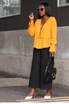 Black Pierce bag - marble sunglasses - Black Split pants - white heels