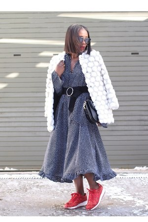 French Connection coat - Reclaimed vintage dress - Prada sunglasses