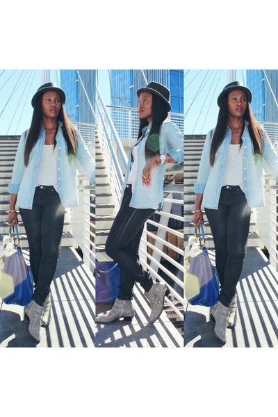 Chloe boots - Club Monaco jeans - Levis hat - Jcrew shirt