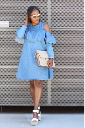 Denim cold shoulder dress - White Vince shoes - Grey Chloe Flap bag