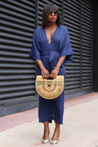 Blue dress - Bamboo bag - black sunglasses - Snake Skin Printed heels