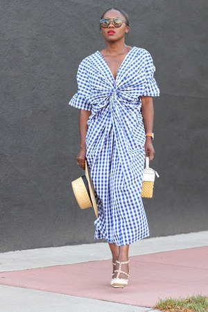 Blue Gingham dress - straw hat - straw bag - Prada sunglasses - white heels