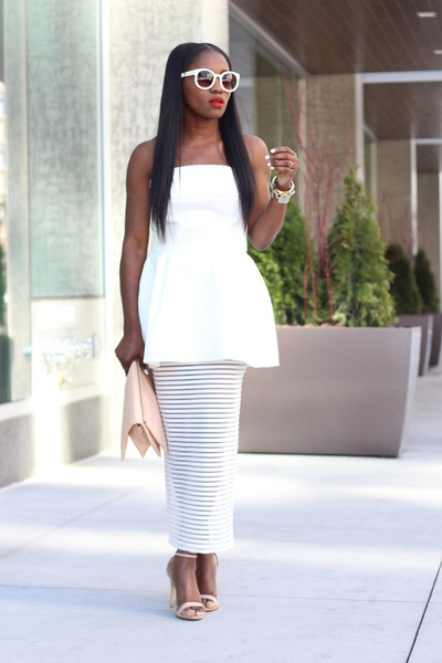 white dress - Nude shoes - Nude bag - white sunglasses