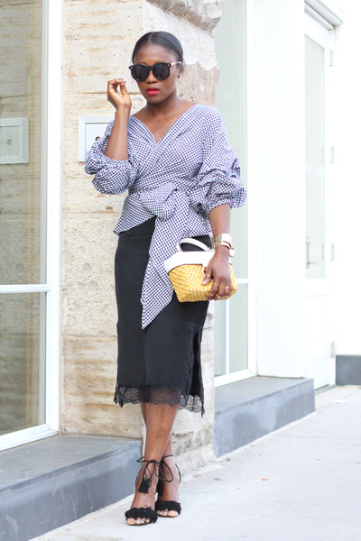 Gingham blouse - Altuzurra shoes - Michael Kors bag - Karen Walker sunglasses