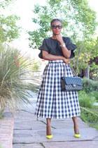 black bag - black sunglasses - black and white skirt - yellow heels - black top
