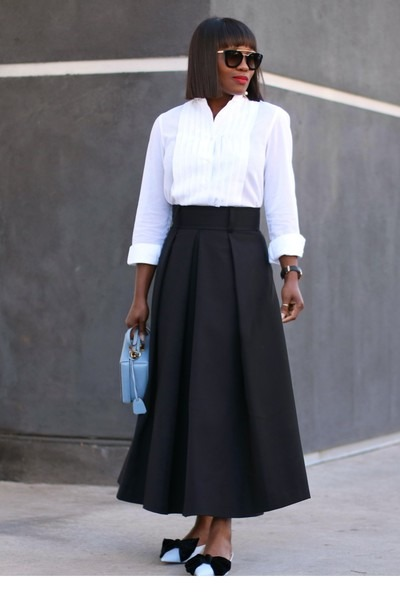 White Tuxedo shirt - Zara Blue Bow shoes - Blue bag - Black Pleated skirt