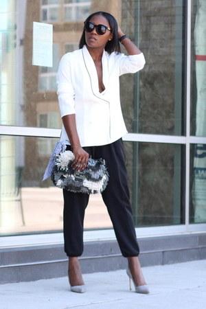 White Pajama blouse - Fringe Fendi bag - Karen Walker sunglasses