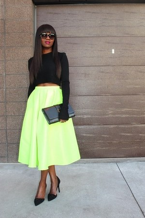 Get the looks skirt - Yves Saint Laurent bag - coach heels - Zara top