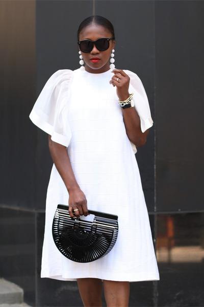 White Flutter Sleeve dress - Black Acrylic bag - Black Sunglasses sunglasses