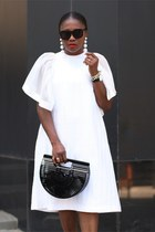 White Flutter Sleeve dress - Black Acrylic bag - Black Sunglasses sunglasses