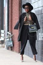 black pants - Black Fedroa hat - animal print heels - Bold Striped top