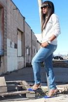 madewell jeans - Jcrew sweatshirt - Valentino heels