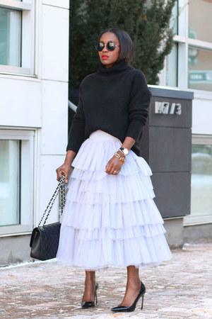 Grey Tulle skirt - Black Turtleneck sweater - Black Chanel bag