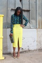asos skirt - Yves Saint Laurent bag - Jcrew heels - Equipment top