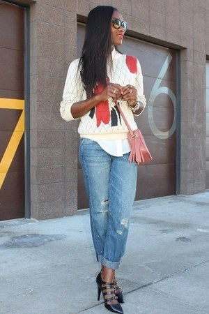 madewell jeans - hinge sweater - Jcrew heels - Gucci belt