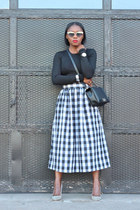Anthropologie skirt - Chanel bag - Oliver Peoples sunglasses - Jcrew heels