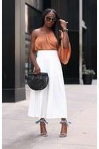 off the shoulder top - Gingham shoes - Black Bamboo bag - black sunglasses