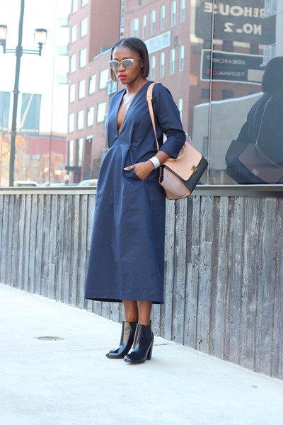 Zara boots - Need Supply dress - Celine bag - Oiver Peoples sunglasses