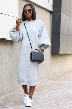 grey dress - Adidas shoes - Box bag - Prada sunglasses