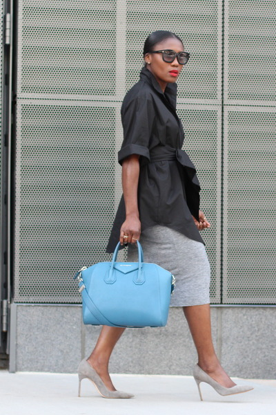 b0460beba5 grey shoes - Blue Givenchy bag - Black Tom Ford sunglasses - Grey Pencil  skirt