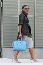 grey shoes - Blue Givenchy bag - Black Tom Ford sunglasses - Grey Pencil skirt
