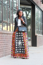 maxi skirt - vince jacket - Chanel bag - Urban Outfitters t-shirt