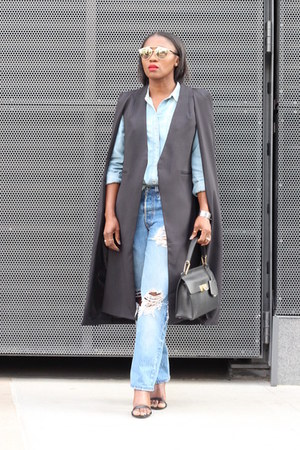 nastygal cape - Levis jeans - Jcrew shirt - balenciaga bag