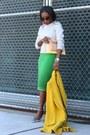 Yellow-coat-grey-sweatshirt-green-skirt-silver-heels