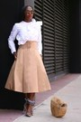 Gingham-shoes-bamboo-bag-black-sunglasses-tan-skirt-white-top