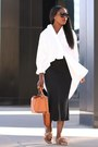 White-shirt-tan-bag-black-sunglasses-tan-sandals-black-skirt
