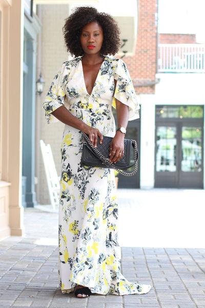 Aquazzura shoes shoes - White floral maxi dress - Chanel Boy bag