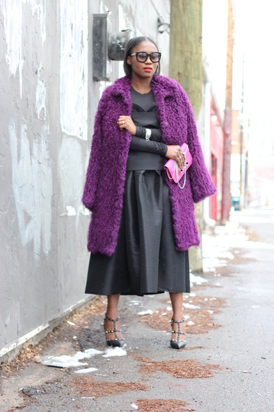 escada coat - PROENZA SCHOULER bag - Tom Ford sunglasses - Chicwish skirt