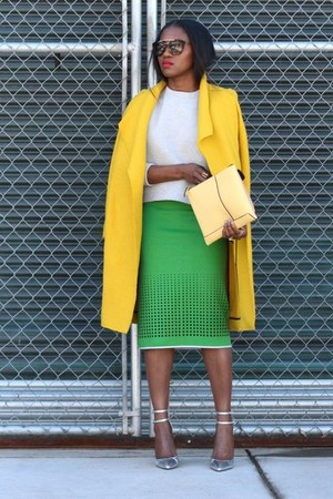 yellow coat - Green skirt - grey sweatshirt - Silver heels