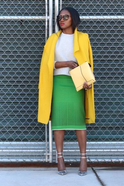 yellow coat - Green skirt - grey sweatshirt - Silver heels