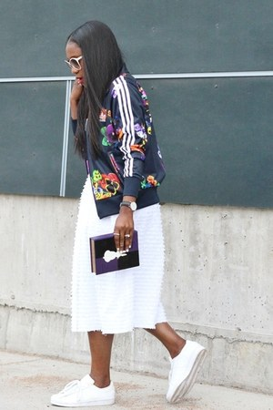 white skirt - floral jacket - purple bag - Adidas sneakers