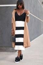 black sunglasses - trench coat - Black Box bag - black and white skirt