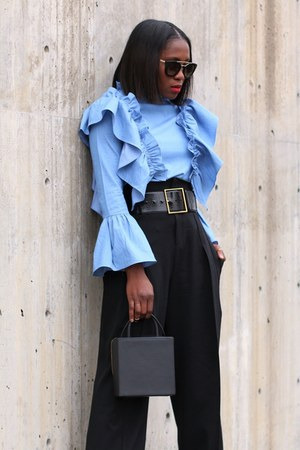 Black Box bag - Prada sunglasses - Blue ruffle top - high waist pants