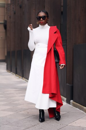 Red coat - Black Sock boots - Chanel bag - Karen Walker sunglasses - Awake skirt