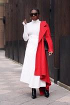 Red coat - Black Sock boots - Chanel bag - Karen Walker sunglasses - Awake skirt