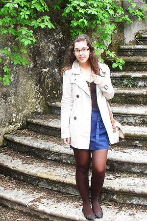 beige Stradivarius coat - dark brown Bershka top - navy skirt