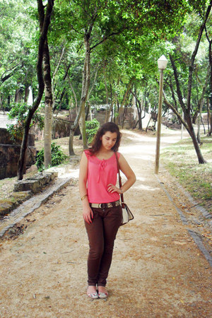 hot pink H&M top - cream Bershka bag - dark brown Bershka pants