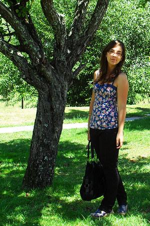 blue Bershka top - black Stradivarius bag - black Pimkie pants