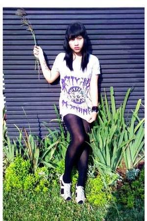 erectooz shirt - 2hand shorts - unbranded tights - fleurette shoes
