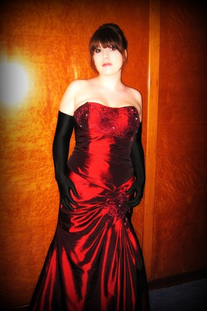 brick red dress - black Jessica McClintock gloves - black shoes