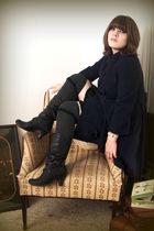 black boots - black dress - gray socks - blue elevenses coat