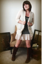 gray free people dress - beige Silence & Noise cardigan - brown Anthropologie bo