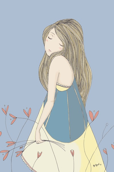 yellow dress - blue vest