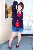 purple Nollie cardigan - red kirra top - blue Bullhead shorts - red Report shoes