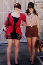 Brown-leather-bag-navy-elevenses-shorts-coral-cardigan-navy-bke-top