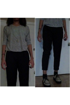 heather gray Forever21 sweater - lime green floral creepers asos loafers